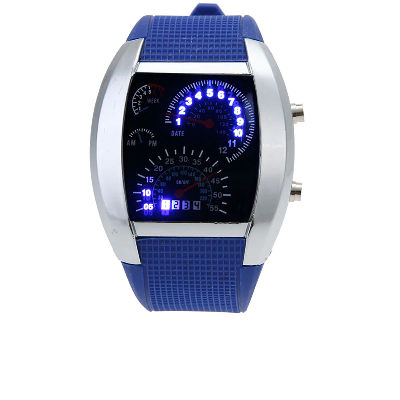 Unique Digital Wristwatches with Dashboard Styled Display