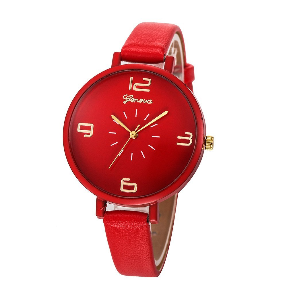 Women's Quartz Watch with Faux Leather Band