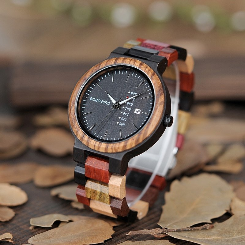 Wooden Watch with Colorful Band